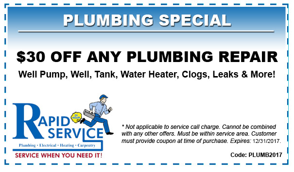 30 off any plumbing repair